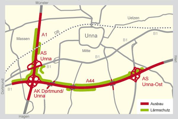 Grafik: Geplanter Ausbau der A44 und neue Lärmschutzeinrichtungen